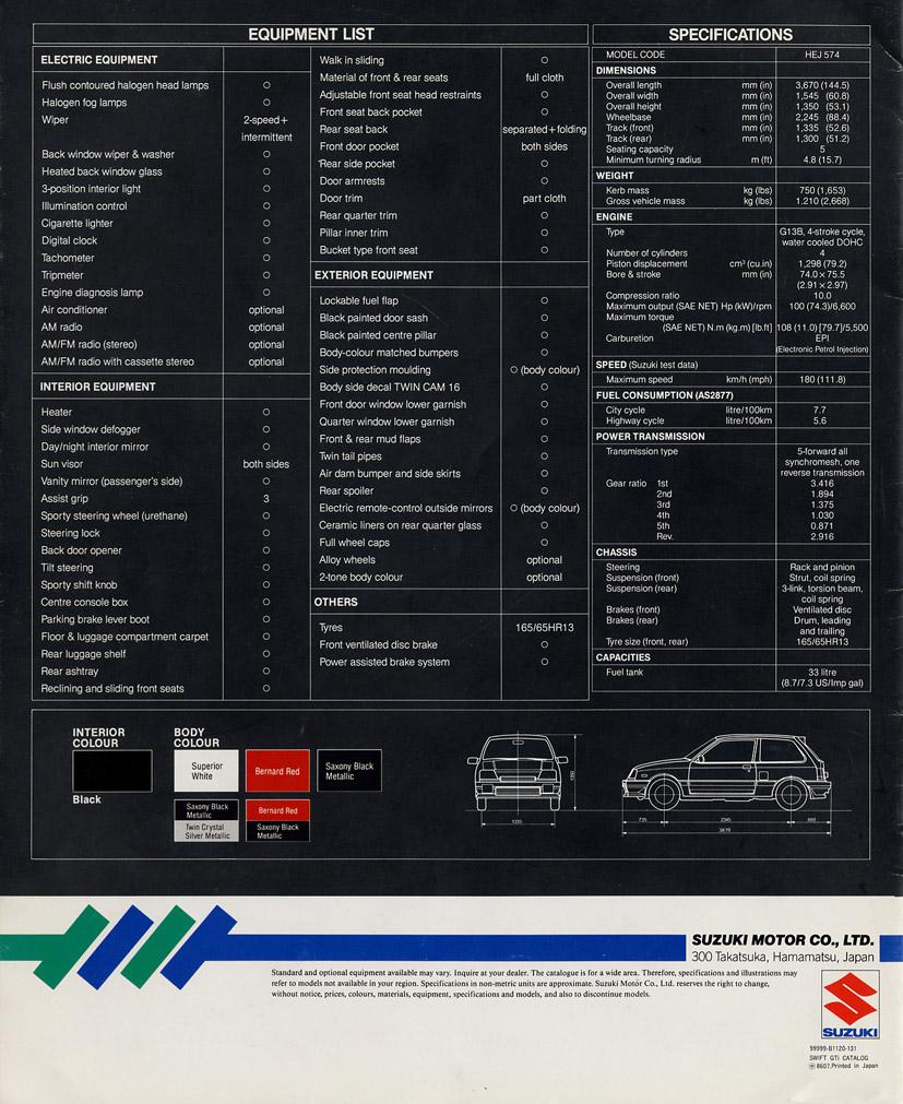 1986 Sa413 Suzuki Swift Gti Pocket Rocket Khyber Interior